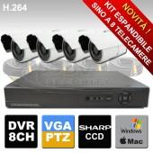 Kit videosorveglianza espandibile fino a 8 telecamere e dvr connesione Lan H264