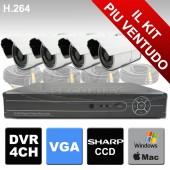 Kit di videosorveglianza 4 canali e DVR H264