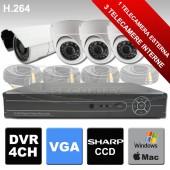 Kit di videosorveglianza con telecamera dome e IR per esterno