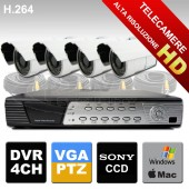 Kit tvcc Telecamere HD Sony 24 led e DVR 4 canali con PTZ