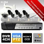 Kit di telecamere videosorveglianza con Mini Speed Dome CCD Sony e 3 Telecamere Sony 24 led